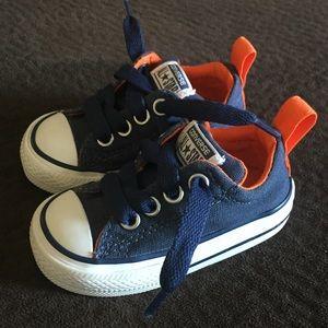 Baby boy size 3 navy/orange converse all stars